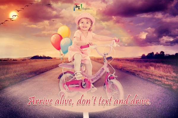Arrive alive, don't text and drive.
