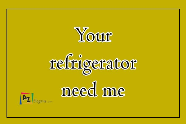 Your refrigerator need me