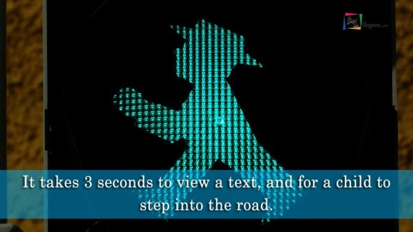It takes 3 seconds to view a text, and for a child to step into the road.