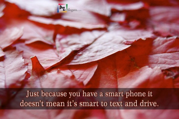 Just because you have a smart phone it doesn't mean it's smart to text and drive.