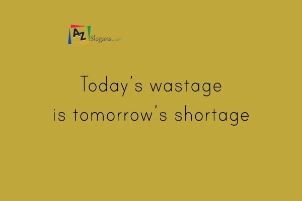 today s wastage is tomorrow s shortage Today's dietitian magazine,  web exclusive  there have been water shortages in almost every part of the country, including the worst drought in at least 25.