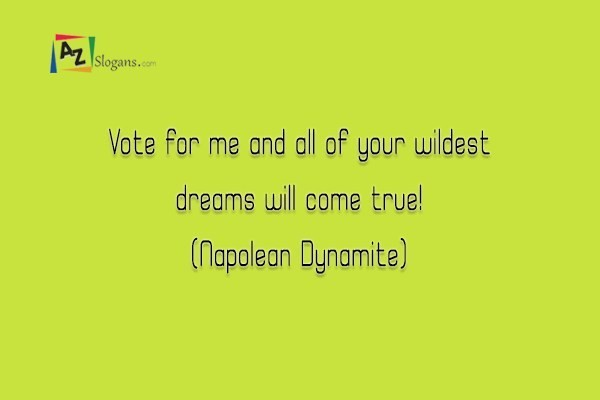 Vote for me and all of your wildest dreams will come true! (Napolean Dynamite)