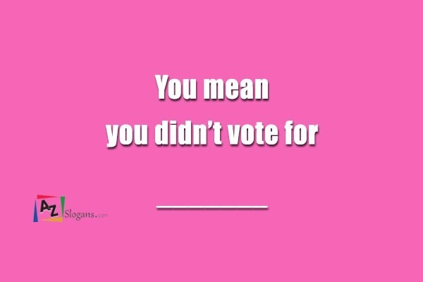 You mean you didn't vote for _______