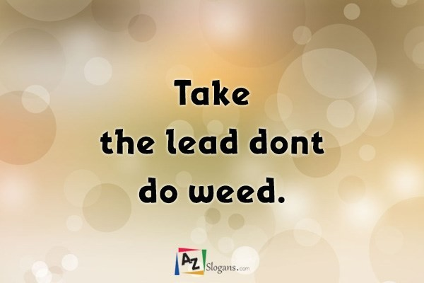 Take the lead dont do weed.