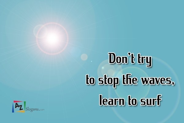 Don't try to stop the waves, learn to surf