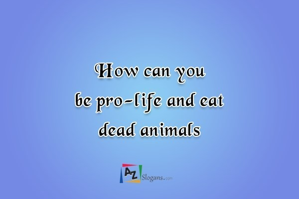 How can you be pro-life and eat dead animals